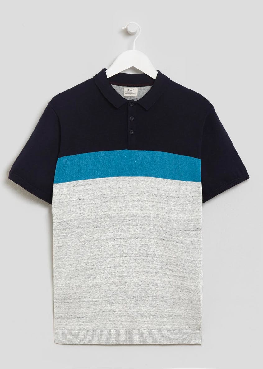 Colourblock Knitted Polo Shirt