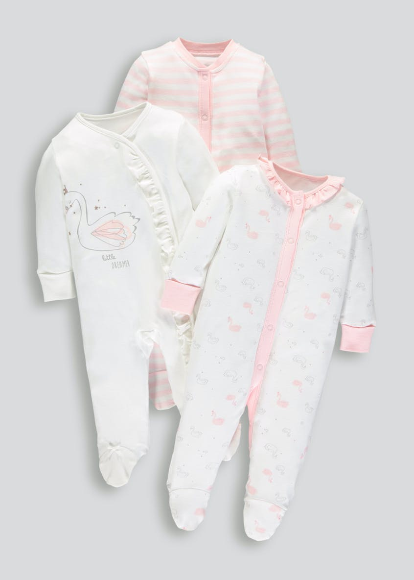 Girls 3 Pack Sleepsuits (Tiny Baby-18mths)