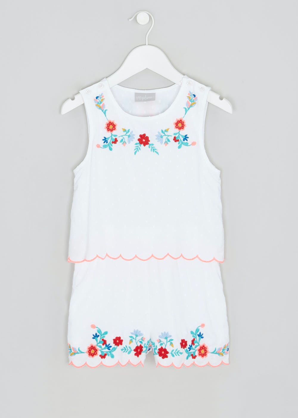 27ca06e6ae8 Girls Floral Embroidered Playsuit (4-13yrs) – White – Matalan