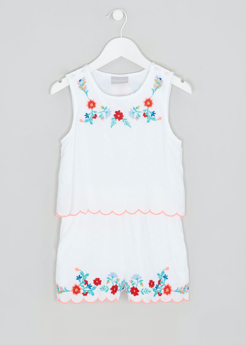 Girls Floral Embroidered Playsuit (4-13yrs)