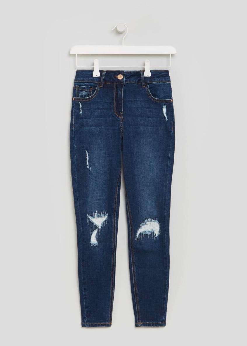 Papaya Petite April Rip & Repair Super Skinny Jeans