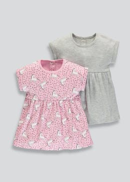 Girls 2 Pack Unicorn Dresses (Newborn-18mths)