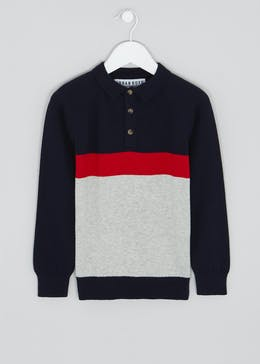 Boys Knitted Long Sleeve Polo Shirt (4-13yrs)