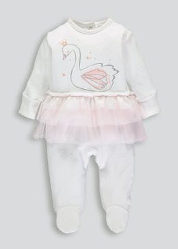 Girls Swan Tutu Sleepsuit (Tiny Baby-9mths)