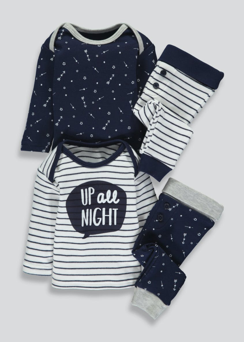 Unisex 4 Piece Top & Bottoms Set (Tiny Baby-9mths)