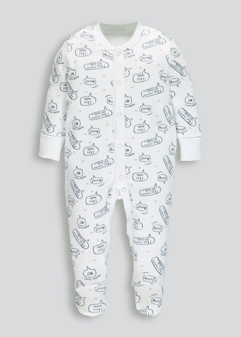 Unisex Slogan Sleepsuit (Tiny Baby-9mths)