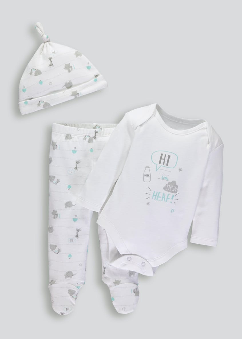 Unisex Slogan Bodysuit Leggings & Hat Set (Tiny Baby-9mths)