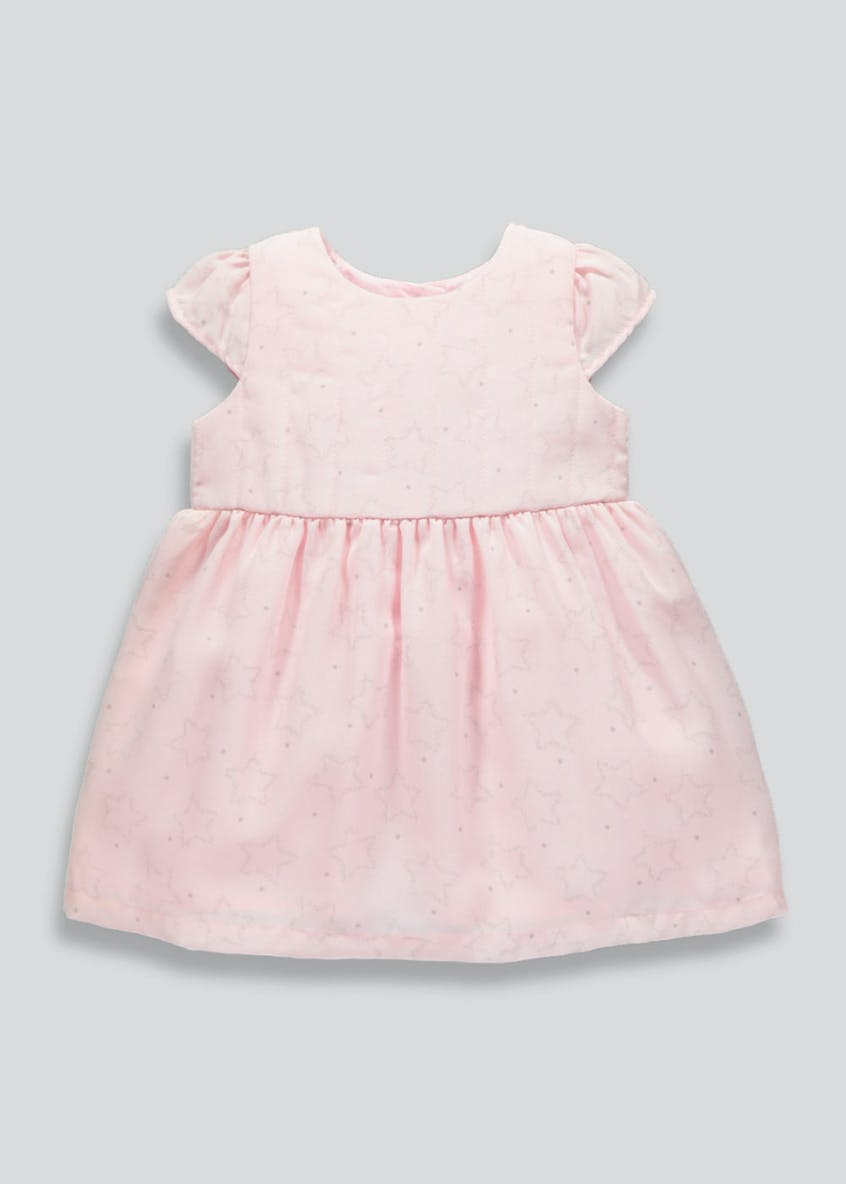 Girls Star Print Mesh Dress (Newborn-18mths)