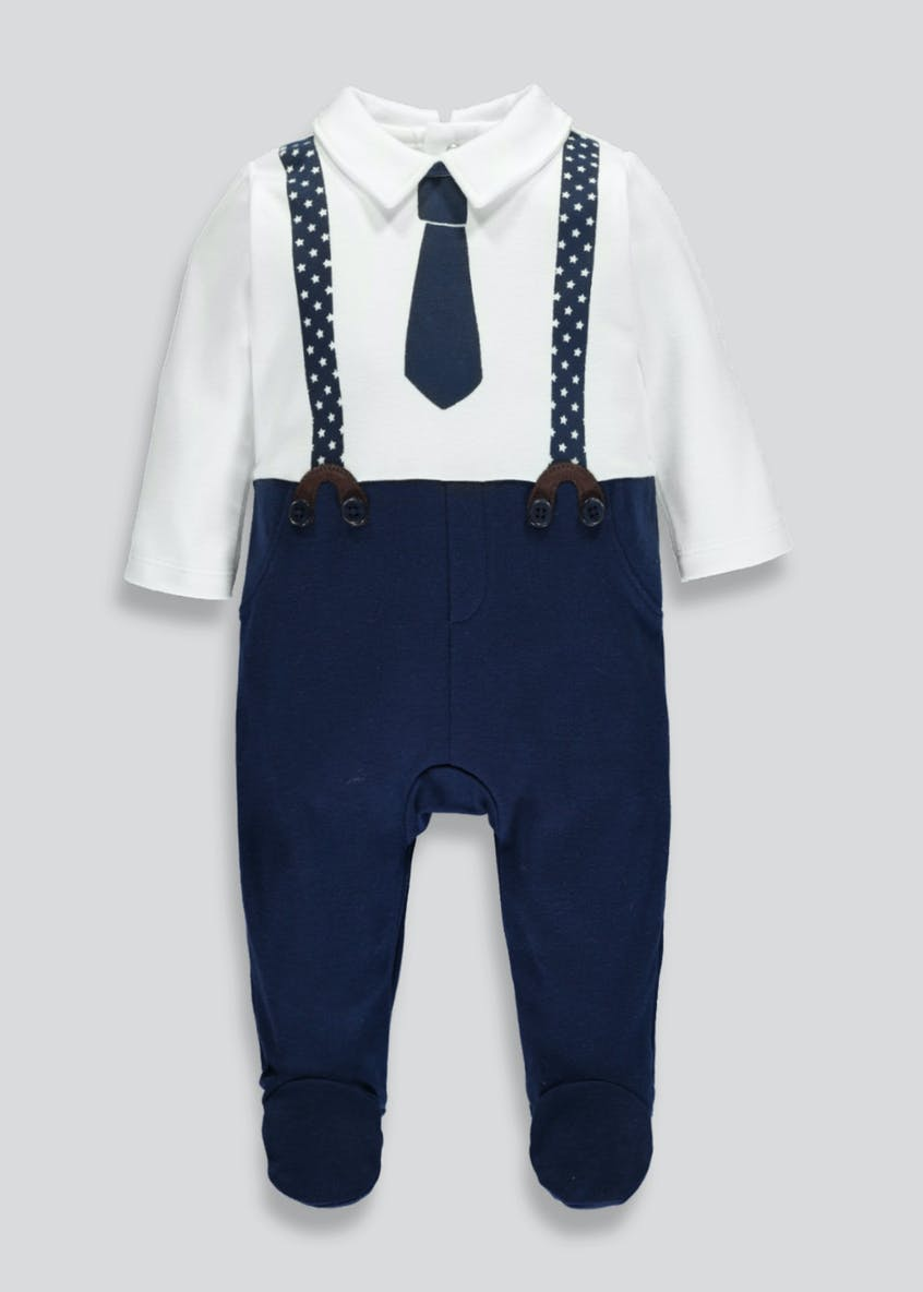 Boys Mock Tie Sleepsuit (Newborn-18mths)