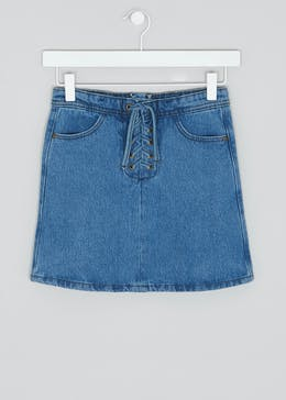 Girls Candy Couture Lace-Up Denim Skirt (9-16yrs)