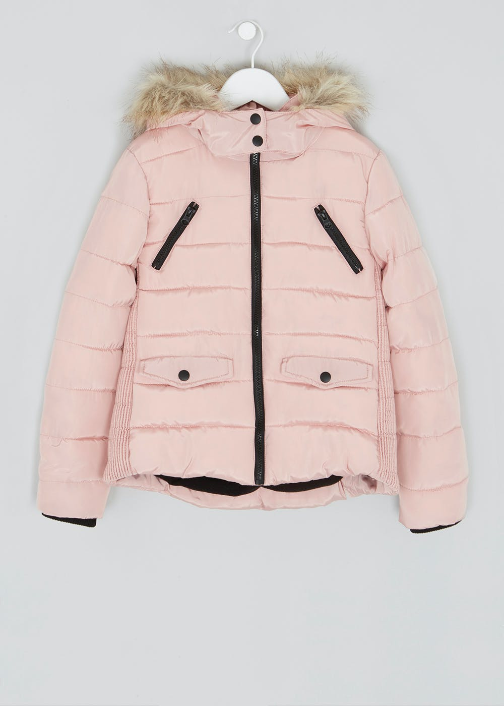 7683233f9 Girls Candy Couture Hooded Padded Coat (9-16yrs) – Pink – Matalan