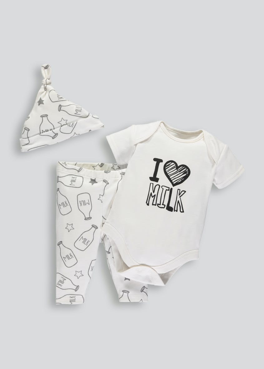Unisex Milk Bodysuit Leggings & Hat Set (Tiny Baby-9mths)