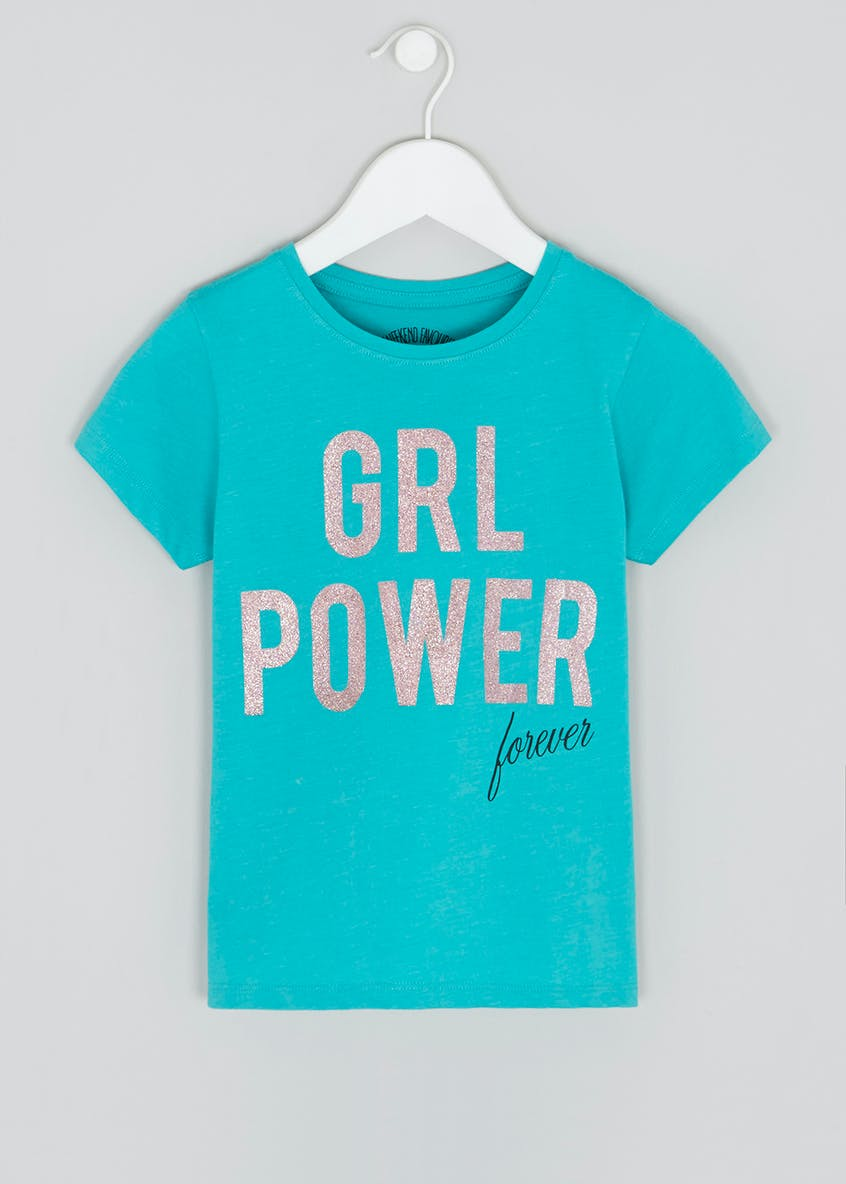 Girls Grl Power Glitter Slogan T-Shirt (4-13yrs)