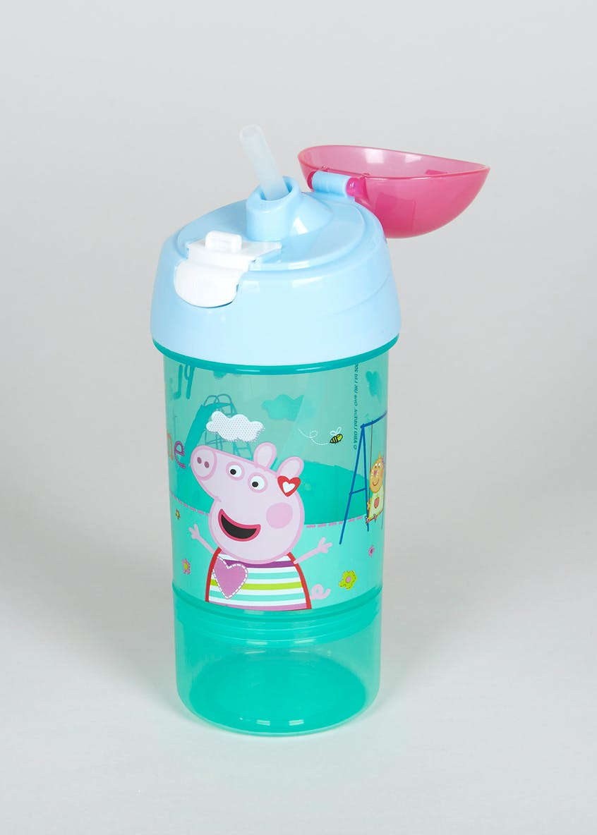 Kids Peppa Pig Water Bottle & Removable Snack Pot (19cm x 7cm)