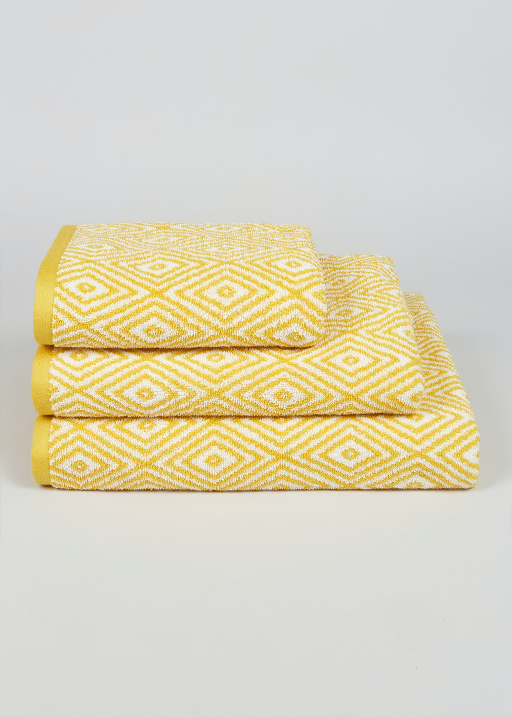 100% Cotton Geometric Pattern Towels Yellow nzXfQ5