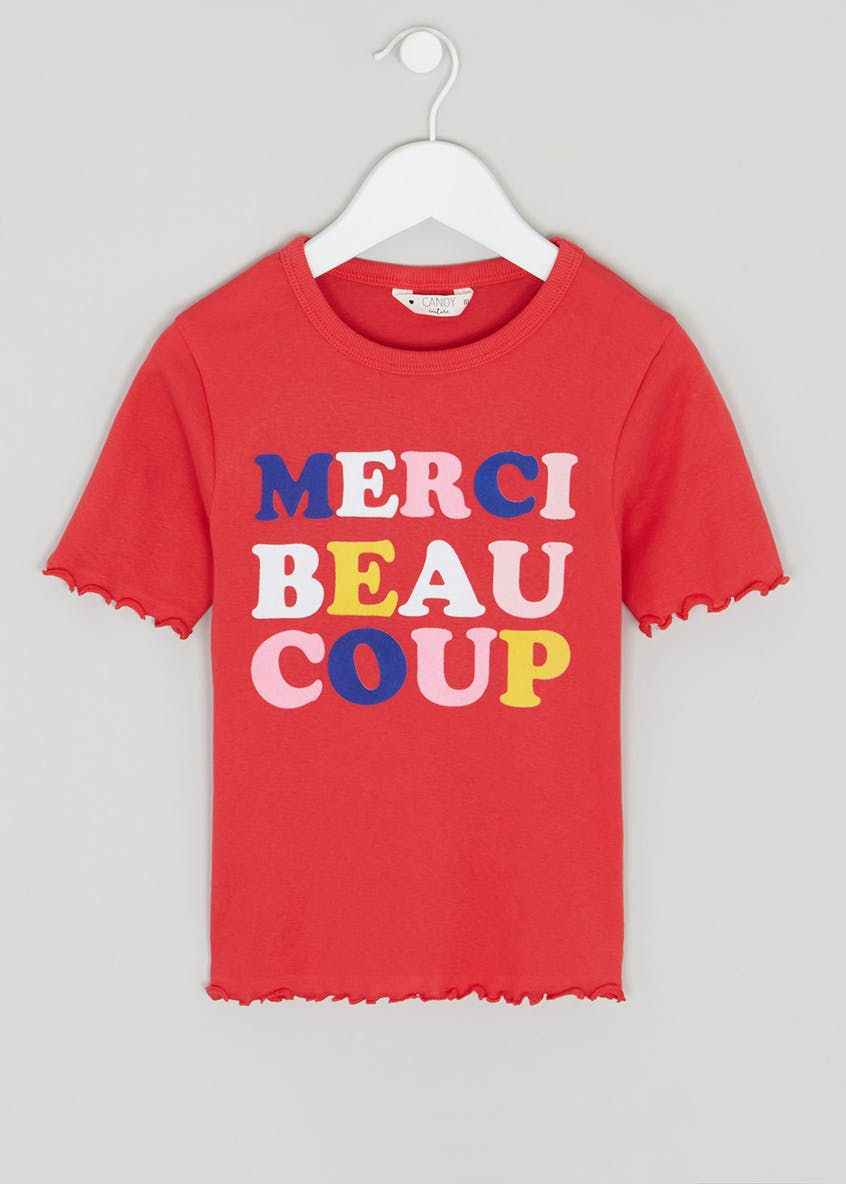 Girls Candy Couture Merci Slogan T-Shirt (9-16yrs)