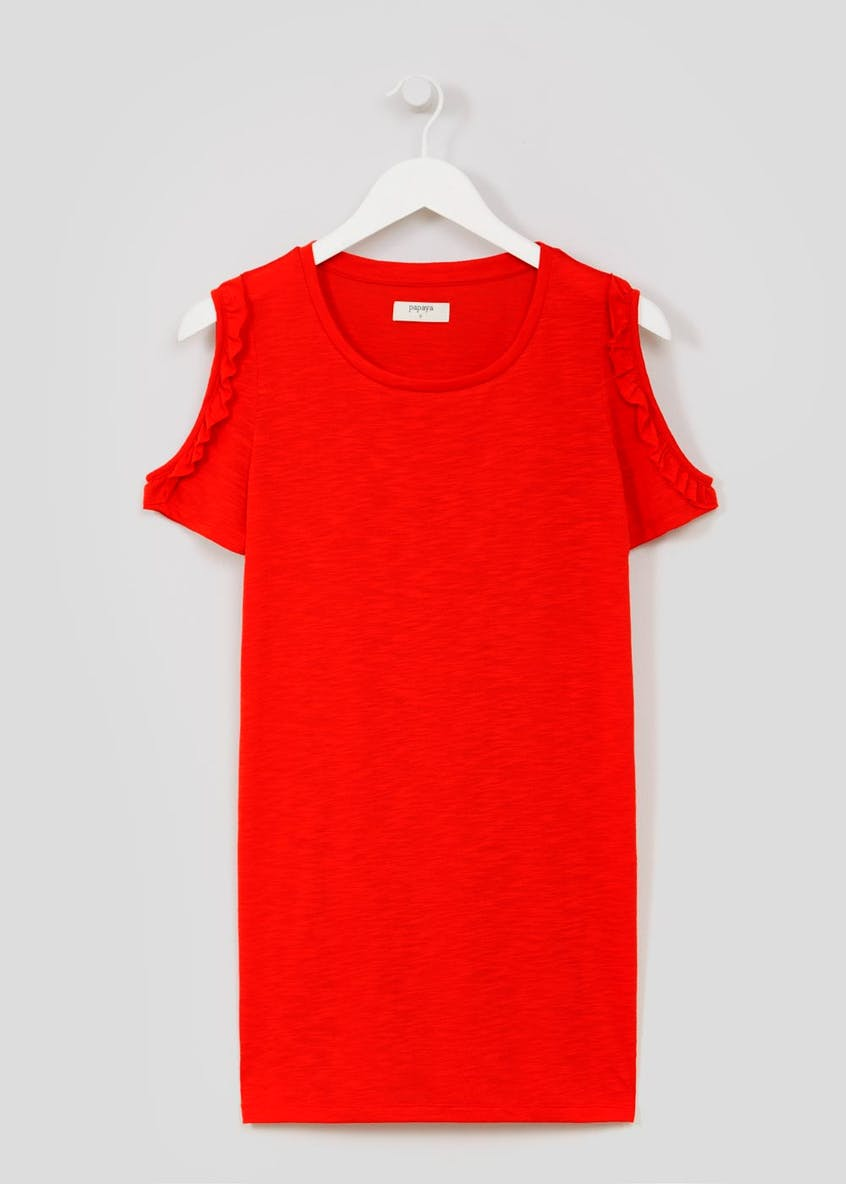 Ruffle Cold Shoulder Longline T-Shirt