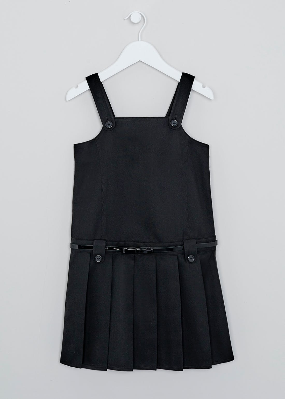Girls Black Belted Pleated School Pinafore (4-13yrs)