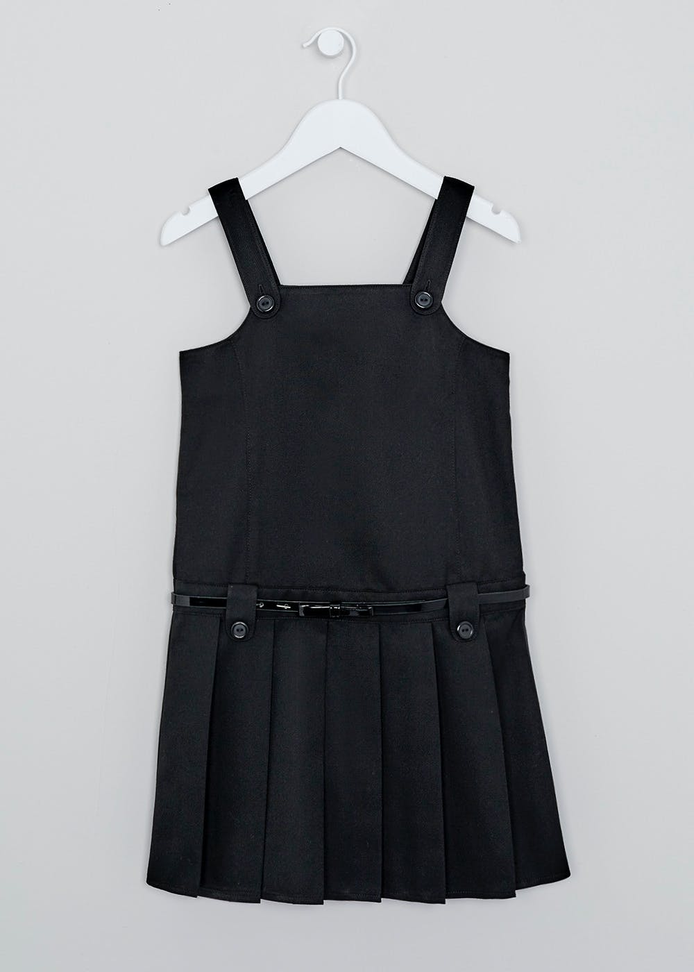 Girls Black Belted Pleated School Pinafore (4-13yrs) – Black