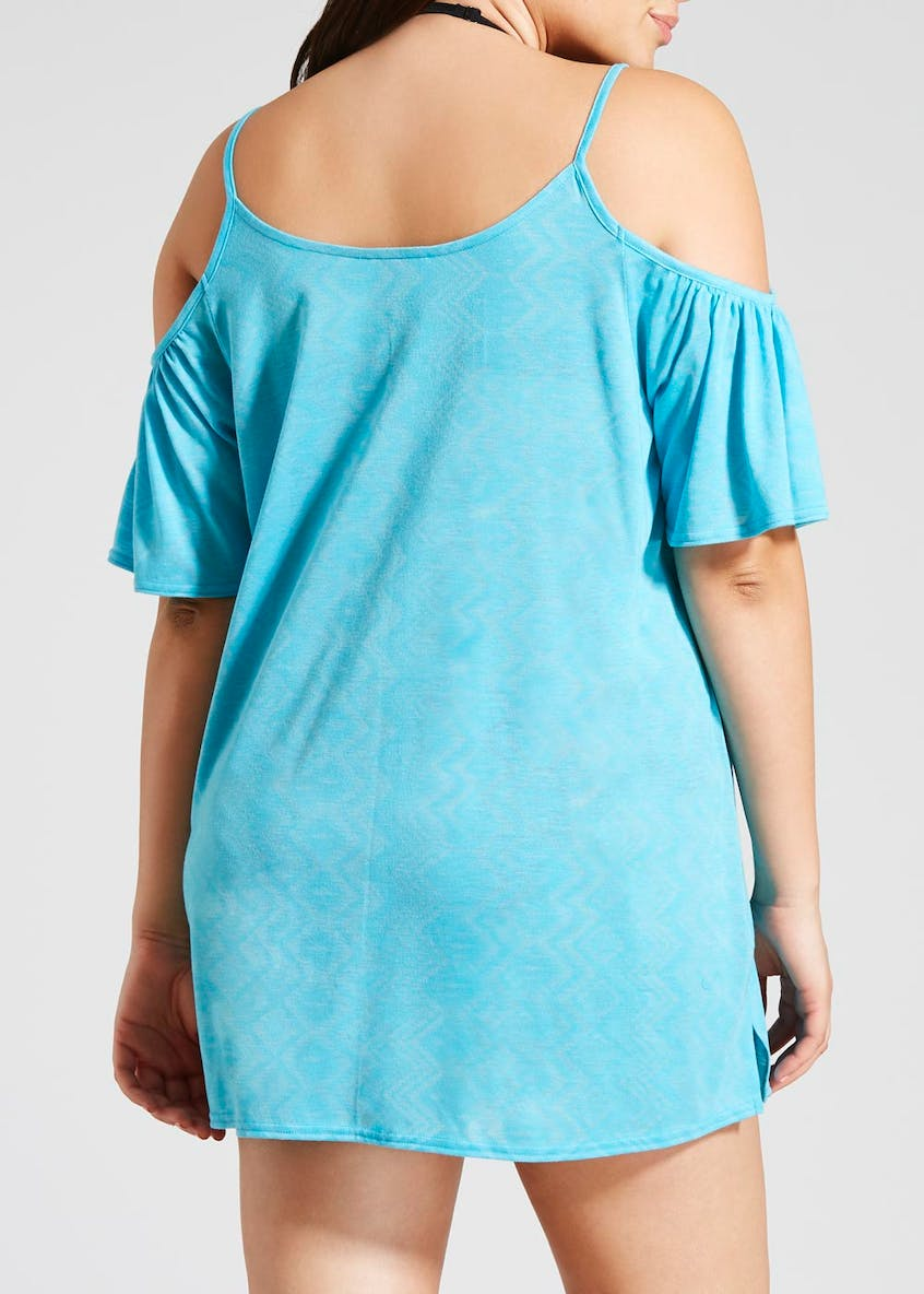 Papaya Curve Cold Shoulder Beach Dress