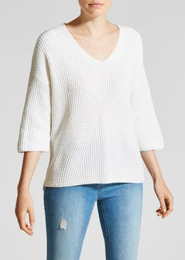 Cropped Sleeve Jumper