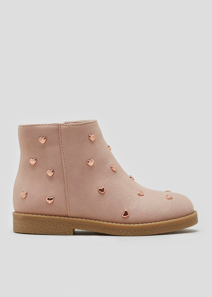 Girls Heart Studded Boots (Younger 4-12)