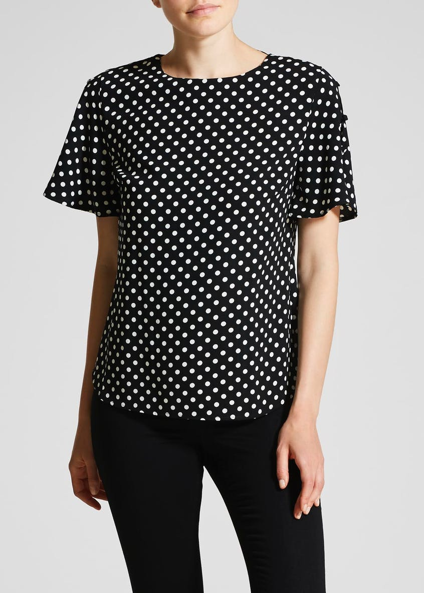 Polka Dot Button Sleeve Blouse
