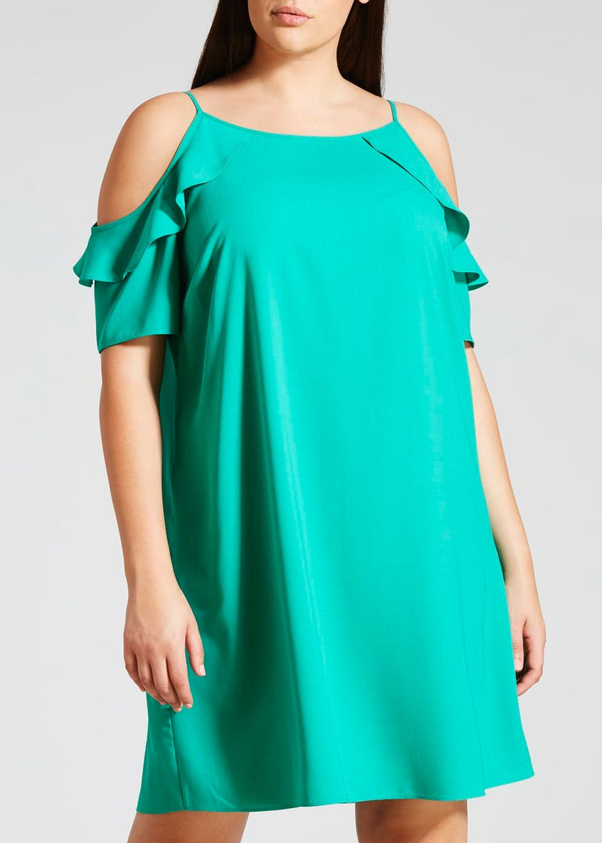 Papaya Curve Frill Cold Shoulder Dress