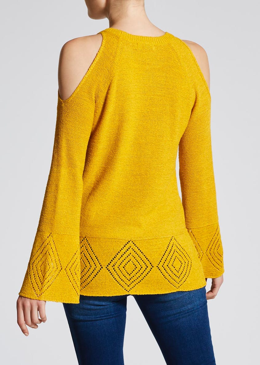 Tape Detail Cold Shoulder Jumper