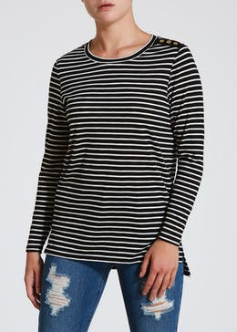 Papaya Petite Stripe Long Sleeve Top