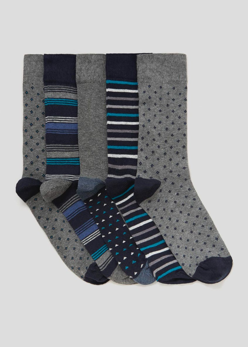 5 Pack Cotton Rich Printed Socks