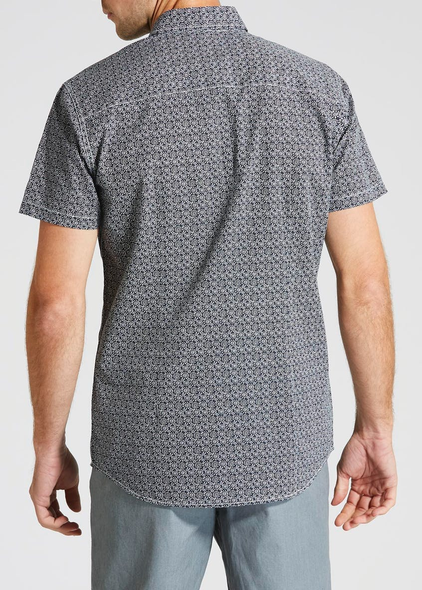 Short Sleeve Geometric Floral Shirt