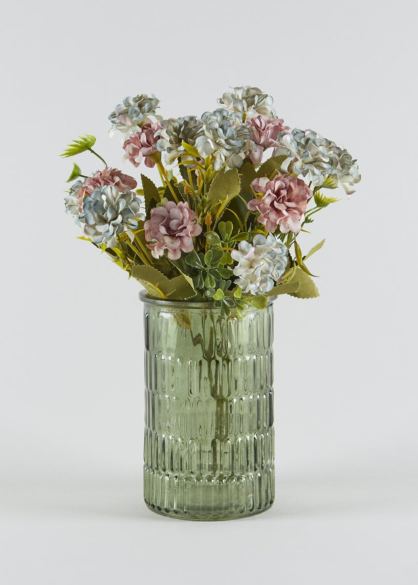 Floral Arrangement in Textured Vase (27cm x 10cm x 10cm)