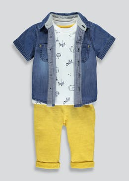 Boys Denim Shirt T-Shirt & Jogging Bottoms Set (Newborn-18mths)