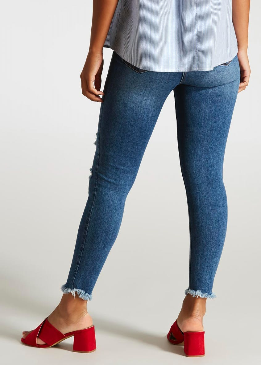 April Ripped Frayed Hem Super Skinny Ankle Grazer Jeans