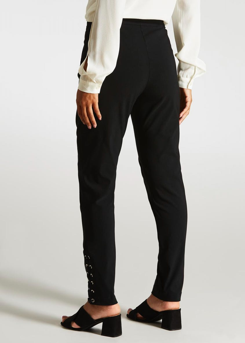 Lace Up Bengaline Slim Fit Trousers (27 Inch Leg)