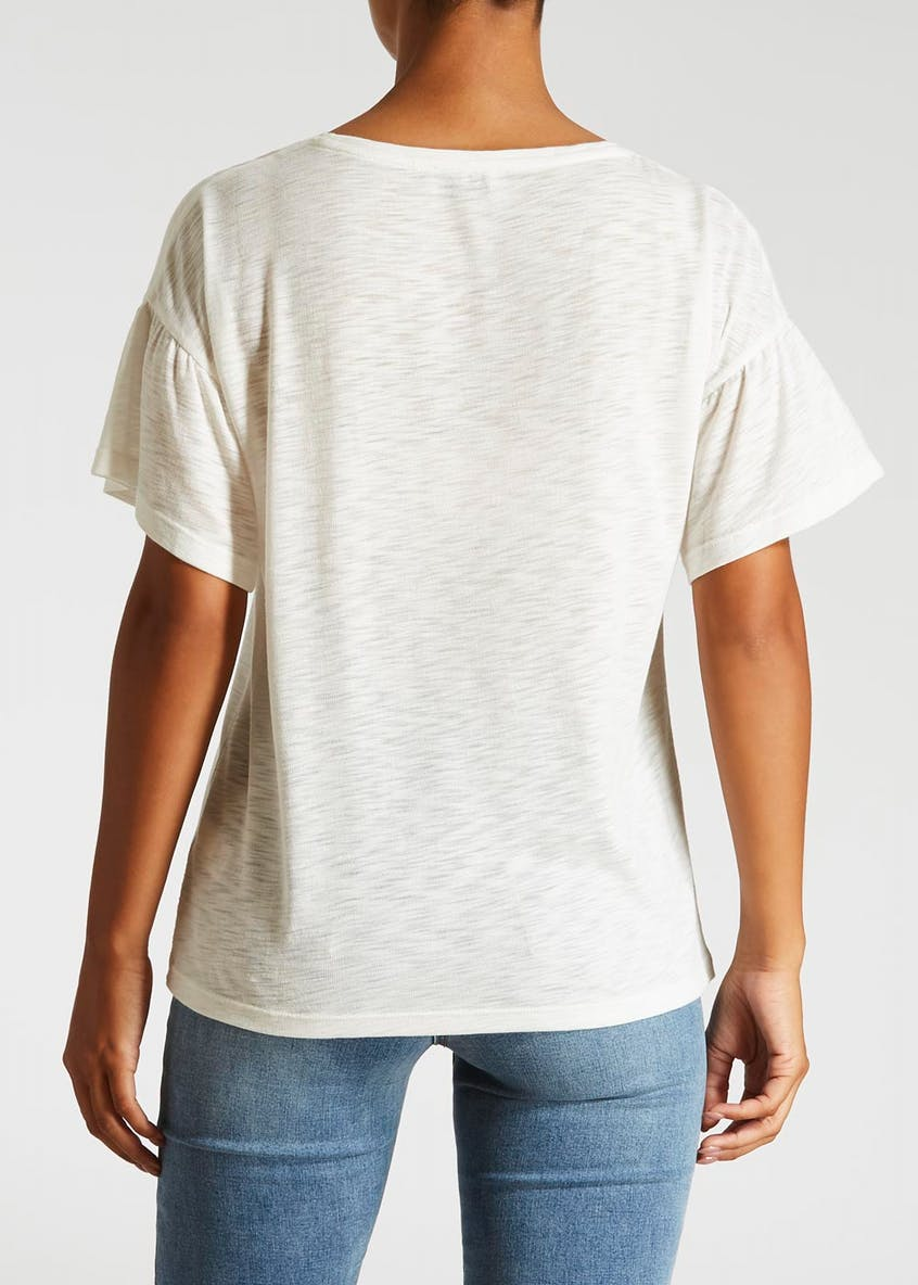 Embroidered Frill Sleeve T-Shirt