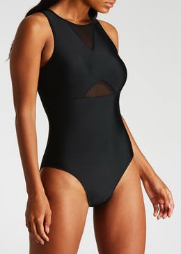 High Neck Mesh Insert Swimsuit