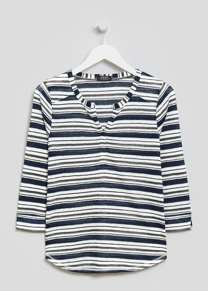 Stripe Snit Henley Top