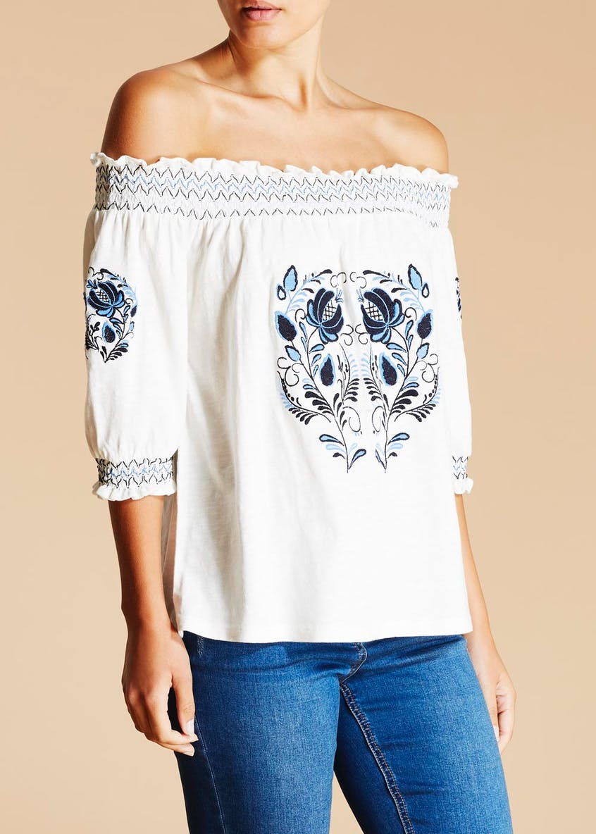 Falmer Embroidered Bardot Jersey Top