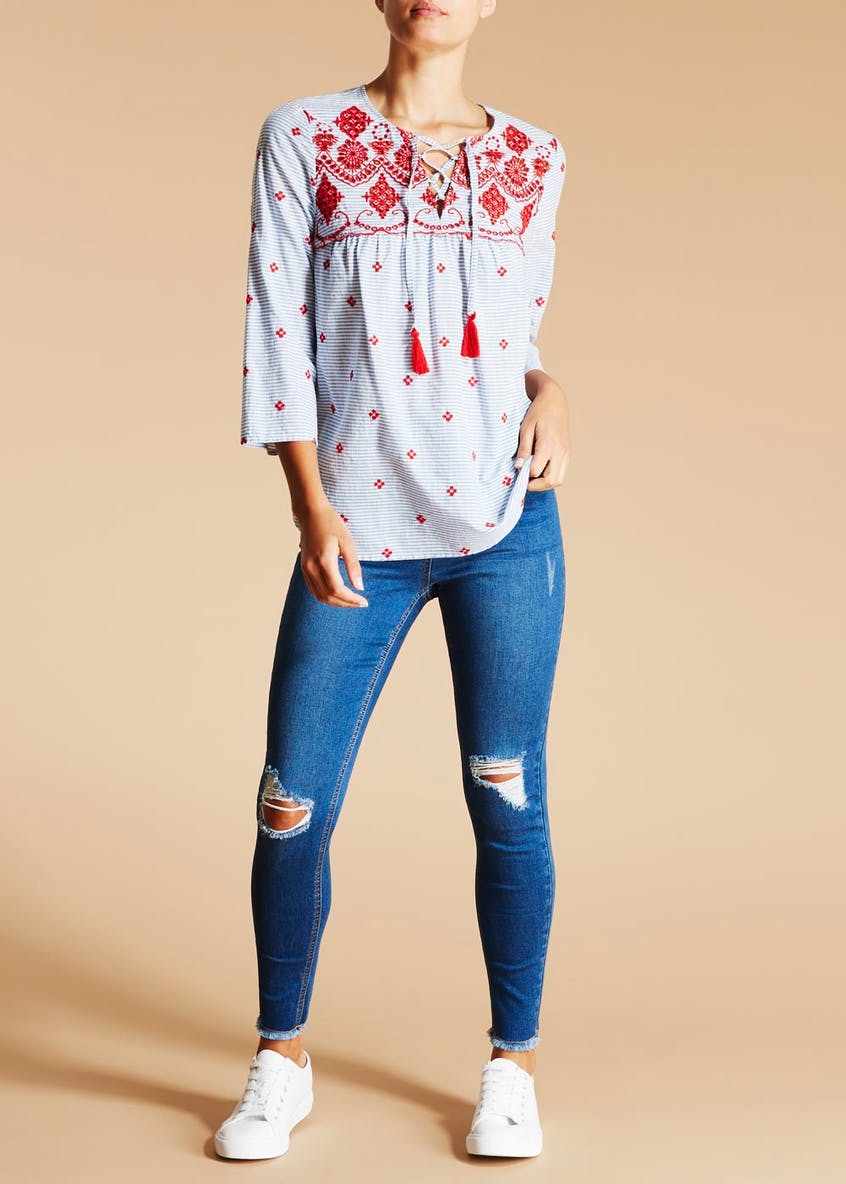 Falmer Embroidered Tassel Top