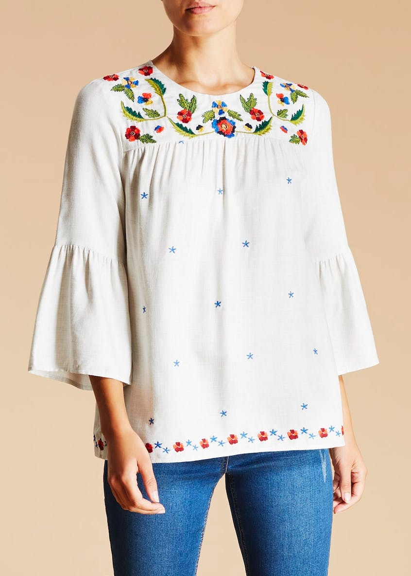 Falmer Floral Embroidered Bell Sleeve Top
