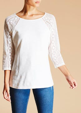 Falmer Lace Sleeve Jersey Top