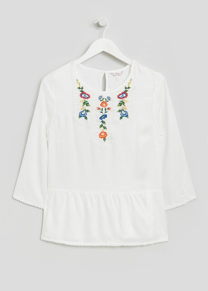Falmer Floral Embroidered Peplum Blouse