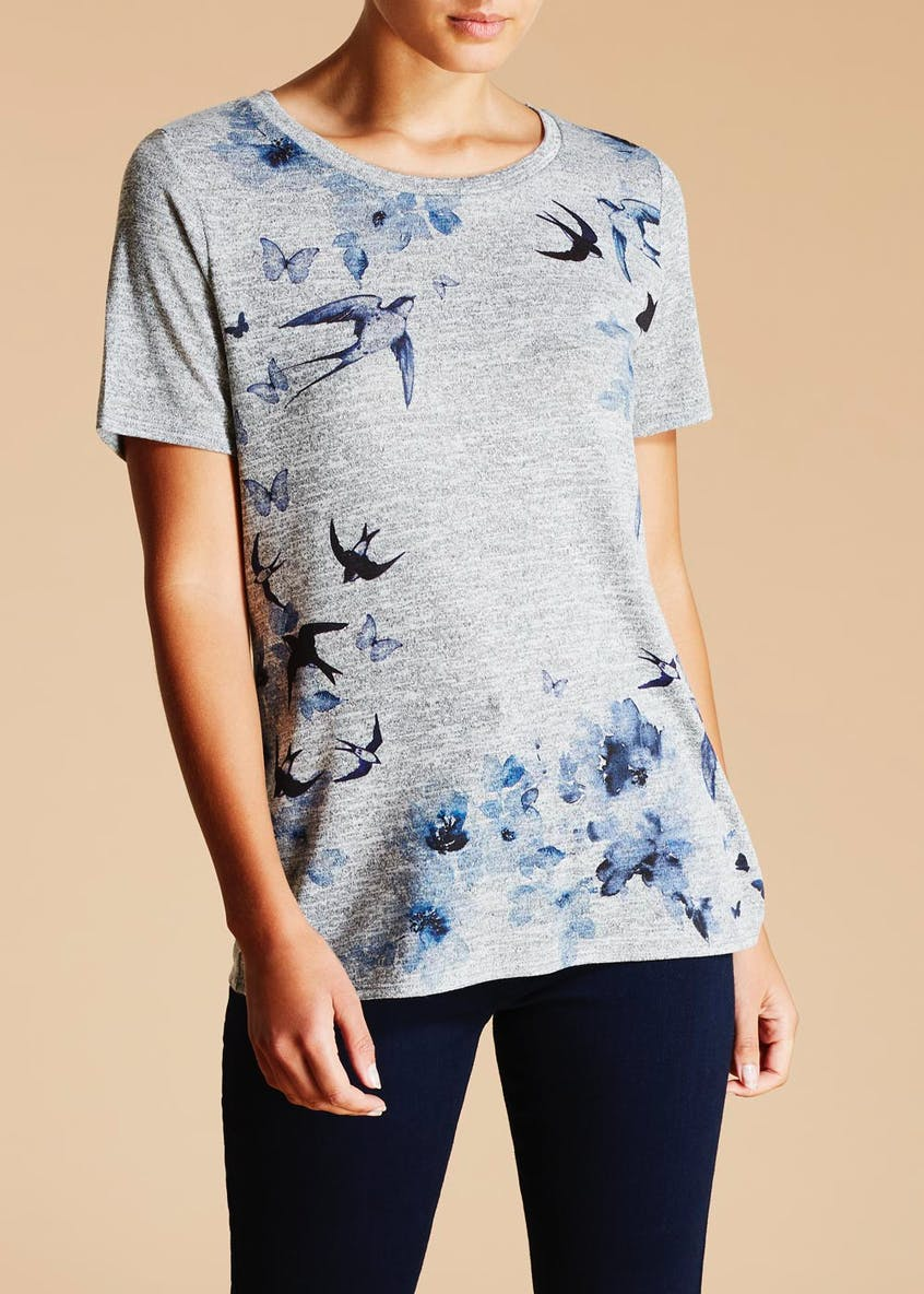 Bird & Butterfly Print Snit T-Shirt