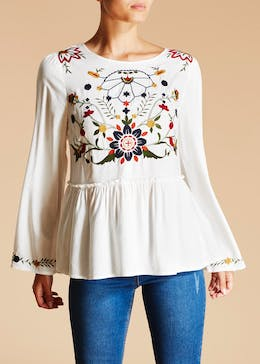 Falmer Embroidered Bib Blouse