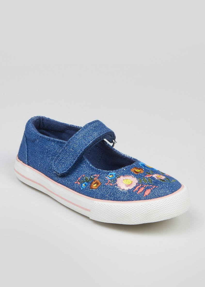 Girls Denim Riptape Pumps (Younger 4-12)