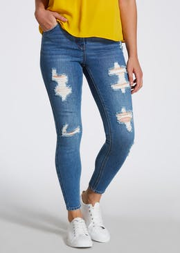 Papaya Petite April Extreme Rip Super Skinny Jeans