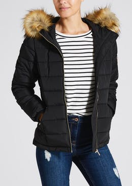 Papaya Petite Faux Fur Hooded Short Parka