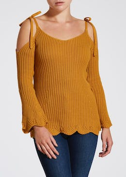Papaya Petite Cold Shoulder Jumper
